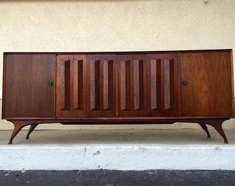 Mid Century Modern walnut stereo console shell/credenza/sideboard *reduced*