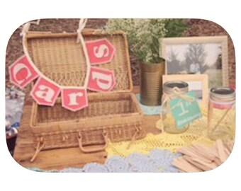 CARDS, mini, burlap bunting, shown in coral burlap flags, 15+ colored burlap options, Product ID# 2014-016