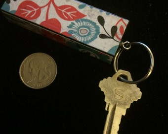 Distressed Floral Keychain