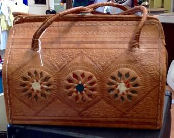 Vintage Carved Design Leather Handbag