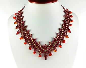 Dark red necklace Beaded necklace Layering necklace Gemstone necklace Maroon necklace Red agate jewelry Fashion necklace Brown jewelry