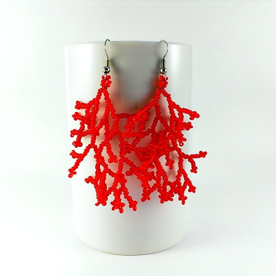 Red coral earrings Coral wedding earrings Red jewelry Red wedding jewelry Coral beadwork Beaded earrings Coraling earrings Coral earings