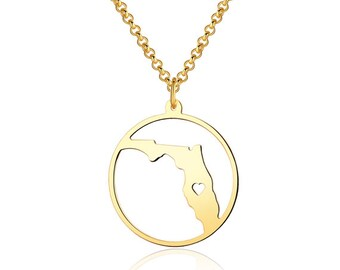 Florida Necklace - 18K Gold plated Florida Map Pendant - State Necklace -  Map necklace with circle - Can be made at any State