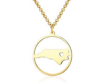 North Carolina Necklace - 18K Gold plated North Carolina Map Pendant - State Necklace -  Map necklace with circle - Can be made at any State