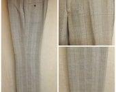 70s Mens Poplin Slacks Pants Glen Plaid Blue Size 42 by Corbin Ltd