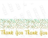 Gold and mint Baby shower thank you card glitter Printable INSTANT DOWNLOAD UPrint by greenmelonstudios glitter baby shower