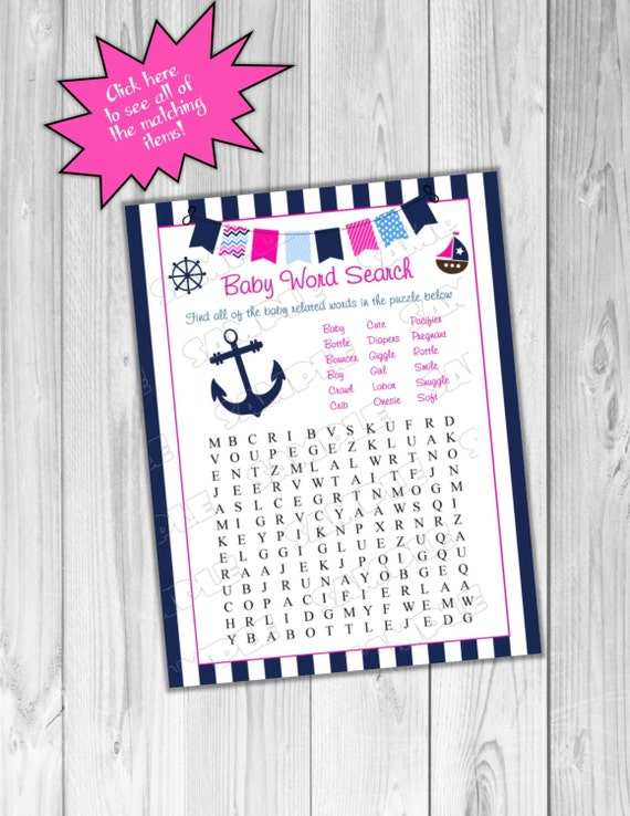 Pink Nautical Anchor Baby Shower Games Word Search Game Printable