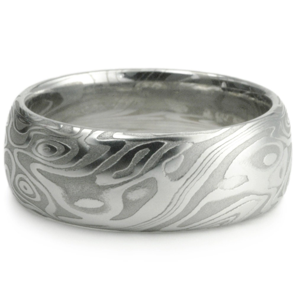 Wedding Ring for Men. Damascus Steel Domed Wide Men's Band