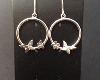 Sterling silver hoop earrings with butterflies and flowers