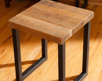 Reclaimed Oak Wood End Table, Entry Way Table, End Table for Living Room, Side Table in Custom Size