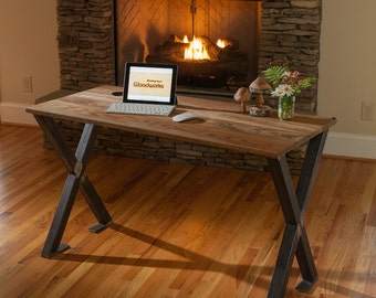 The Braidwood Rustic Modern desk featuring an Oak top stained in a walnut finish with an industrial X base, Unique Office Table