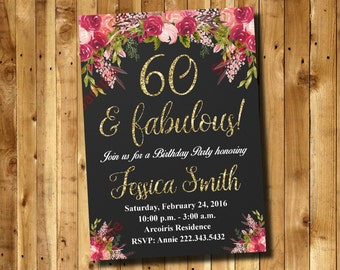 60th Birthday Invitation - Watercolor Flowers Invitation - Floral Invitation - Women Invitation Digital File