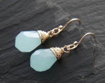 Aqua Chalcedony, Teardrop Earrings, 14K Gold Fill, Wire Wrapped, Gemstone Briolette, Dangle Earrings, Small, Simple Earrings, Wedding, Boho