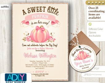 Pumpkin baby Shower Invitation, vitange pumpkin with roses printable card with Thank You Tag for favors,champagne glitter gold  - aa99bs