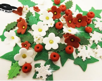Edible White Flowers Holly Ivy Leaves Sugar Red Berries Cake Cup Cakes Toppers