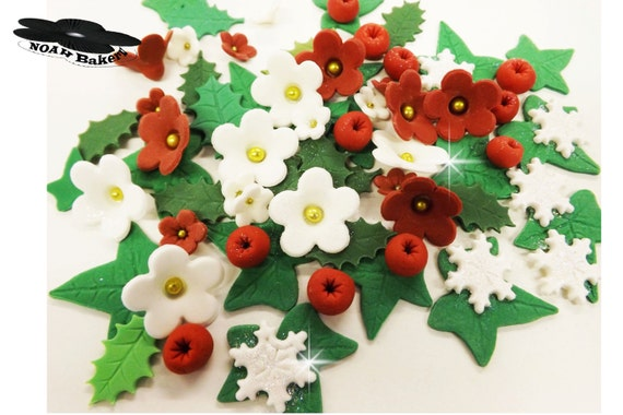 Edible Holly Cake Decorations Asda : Edible White Flowers Holly Ivy Leaves Sugar Red Berries Cake