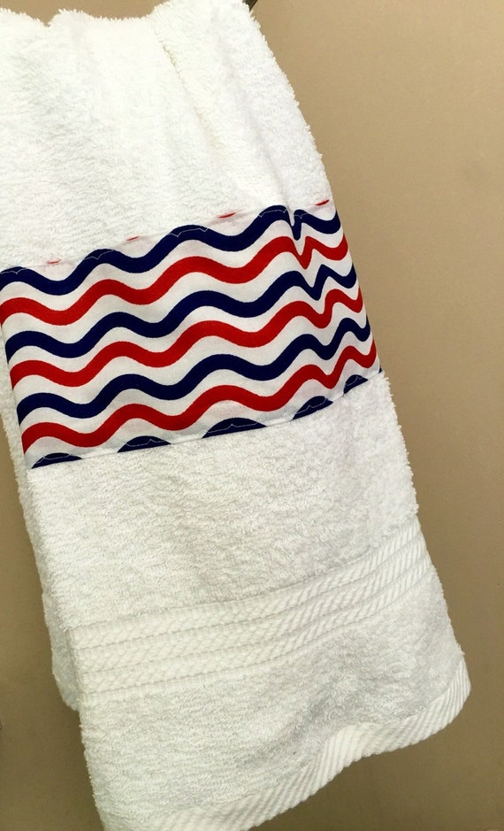 Patriotic usa decorated hand towel bathroom decor hostess for Red white and blue bathroom ideas