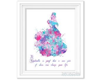 """Cinderella Art Print """"Cinderella is proof that a new pair of shoes can change your life."""" Children's Room Art Wall Art Home Decor (No.447)"""