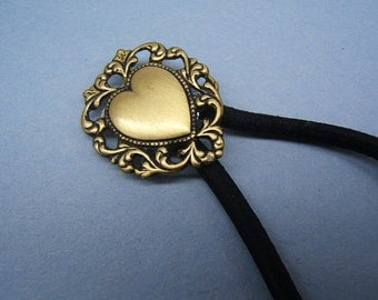 On Sale! Fathers Day Gift, Filigree, Heart Ponytail Holder, Hair Accessories, Hair Elastics, polished brass, Free Shipping*, #80181-1