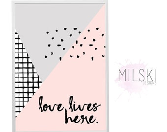 Love lives here // wall print // grid // abstract // blush pink // grey
