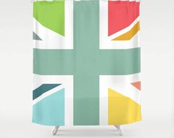 Shower curtain, bathroom, home decor, bathroom decor,modern shower curtain, original gift, British shower curtain, union jack curtain