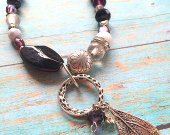 Feather Necklace, Purple Beaded Necklace on Silver Chunky Chain, Feather Charm, Glass Beads