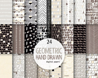 brown geometric digital paper hand drawn pattern white gray grey tan ivory chocolate black khaki natural neutral colors tones background