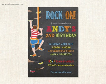 Kids Rock Climbing Chalkboard Birthday Invitations - Rock Climbing Birthday Invitations - Digital or Printed
