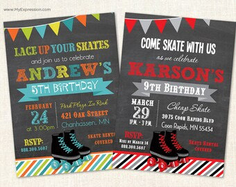 Roller Skating Chalkboard Birthday Party Invitations - Indoor Skating Boys Birthday Invitations - Printable