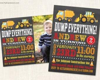 Construction Trucks Chalkboard Birthday Invitations or Photo Thank You Cards - Digital or Printed