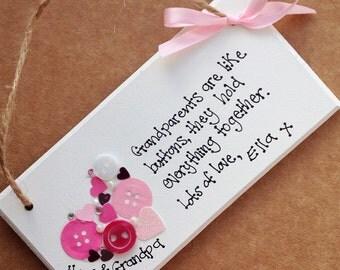 Handmade personalised plaque gran gramps nan papa gift grandparents day