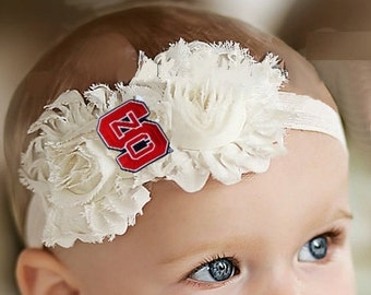 North Carolina State Wolfpack Baby/ Toddler Shabby Flower Hair Bow Headband