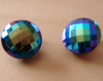 "vintage clip on earrings shimmering lustre effect in excellent condition 3/4""across silvertone"