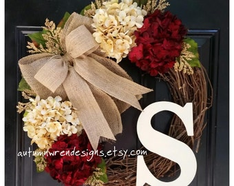 FALL Door Decor, Everyday Wreaths, Wreath for Front Door, Wreath, Hydrangea Wreath