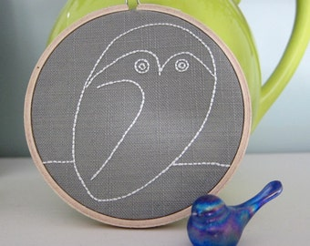 Hand-Embroidered 4-Inch Wall Hoop Art Picasso Owl Line Drawing in Ecru Beige on Grey Linen/Cotton Blend Fabric