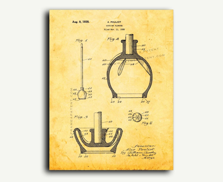 Patent Art Toilet Plunger Patent Wall Art Print