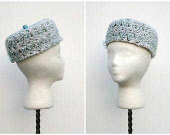 1960s | Blue, Green & White Looped Straw Pillbox Hat