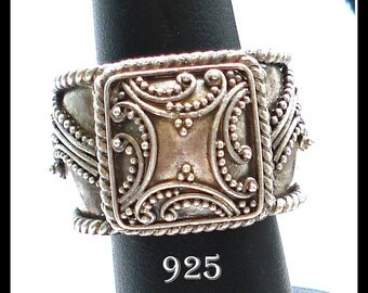 UNIQUE STERLING RING 925 Ornate Big (11.1g) Size 6