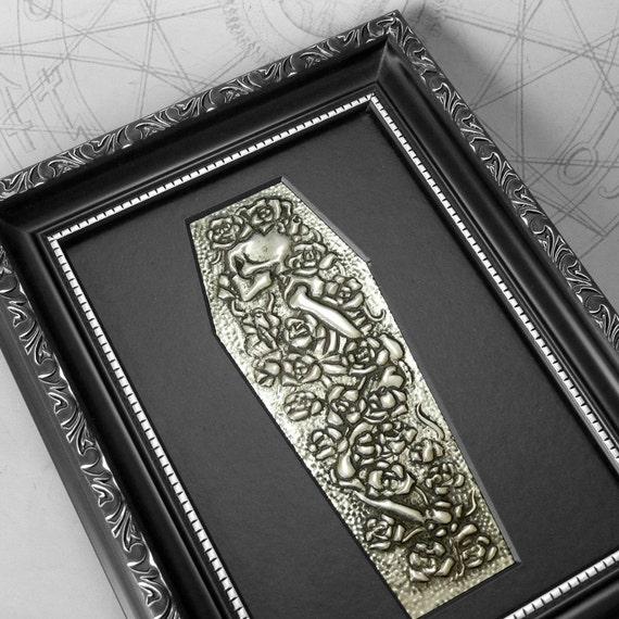 Rosebed : hand embossed anatomical repoussé metal wall art