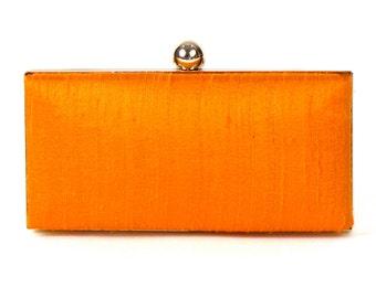 Orange Silk Clutch - Orange Silk Clutch - Orange Box Clutch - Orange Wristlet - Silk Minaudière - Orange Minaudiere - Small Orange Clutch