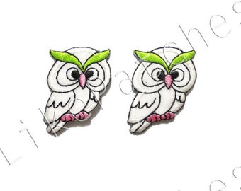Set 2 pcs. Owl Patches - White Super Cute Owl - Sew / Iron On Patches Embroidered Applique Size 3.3cm.x4.1cm.