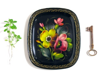 Small Russian Zhostovo Tray - Hand Painted Metal Tray - Made in Russia - 1960 - Classic Zhostovo Pattern - Classic Russian Floral Decor