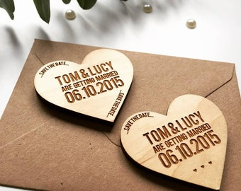 Heart Token Wooden Magnet Save The Date