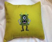 """12"""" x 12"""" Decorative Monster  Pillow, monster decor, monster accents, creature pillow, horror pillow, halloween pillow, monster pillow sham"""