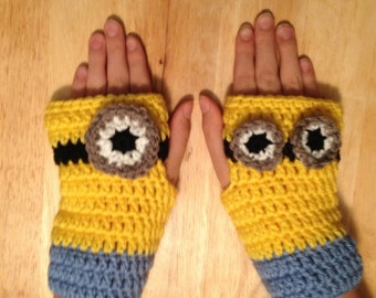 Minion Fingerless Gloves/Hand Warmers/Mitts
