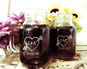1 Anniversary Gift, Personalized Mason Jars with Handles - FREE ENGRAVING