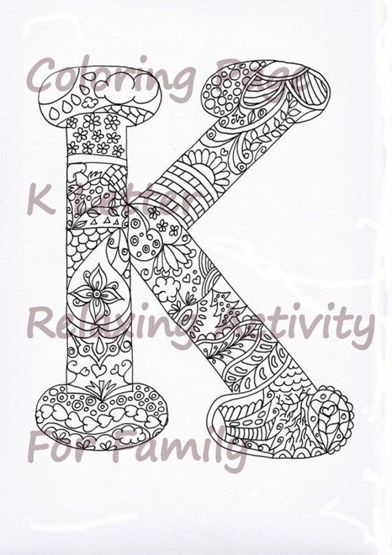 Coloring Letter K Download Adult