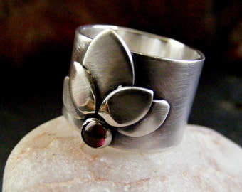Silver Lotus Ring with Garnet Gemstone Flower statement ring with precious stone