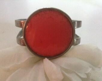 Vintage Celebrity NY Coral Enamel Cuff Bangle Bracelet 80s Large Geometric Angular Orange Silver Hippie Modernist Cabachon  Retro