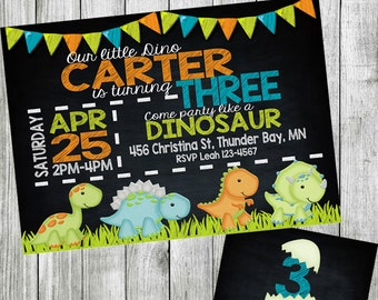 dinosaur birthday invitation, dinosaur invitation, dinosaur party invitation, dinosaur birthday, chalkboard invitation, printable